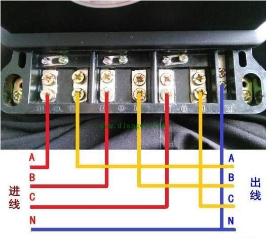 三相四线电子式电能表直通式如何接线?